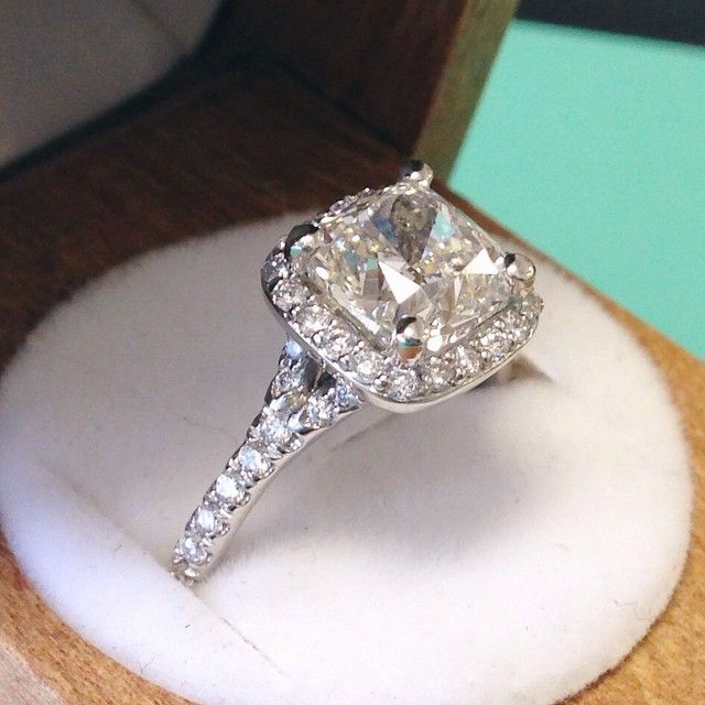Cushion-cut perfection. #diamond #engagementring #halo