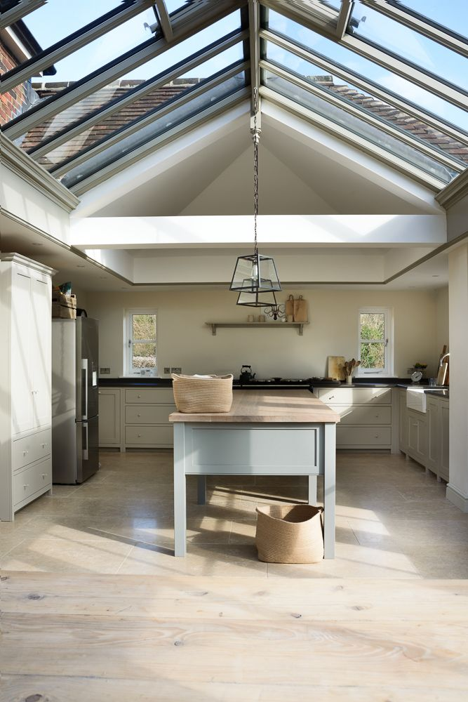 A beautiful full room shot of deVOL's West Sussex Shaker Kitchen.