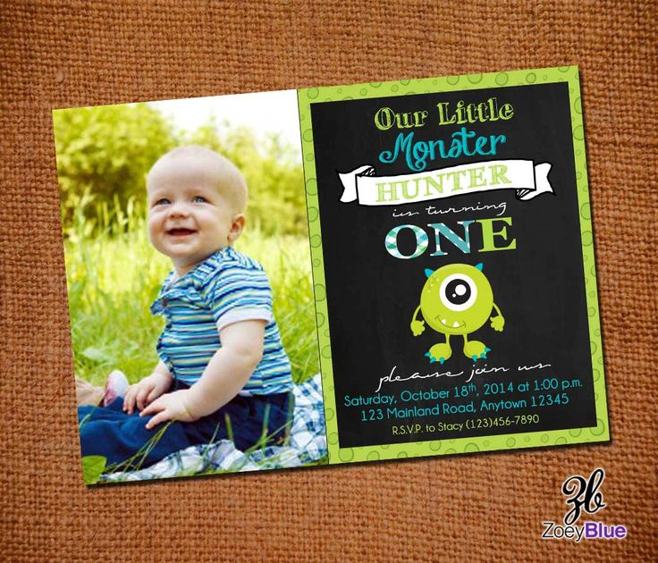 Monster Birthday Invitation Little Monster First Birthday Monster Bash Halloween Party Green Boy 1st Birthday w/ Pic Printable Digital File by ZoeyBlueDesigns on Etsy