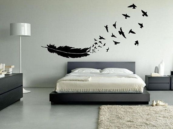 "danadlion into birds wall stickers | FREE SHIPPING ""Feather Into Birds"" Wall Decal Custom Size and Color"
