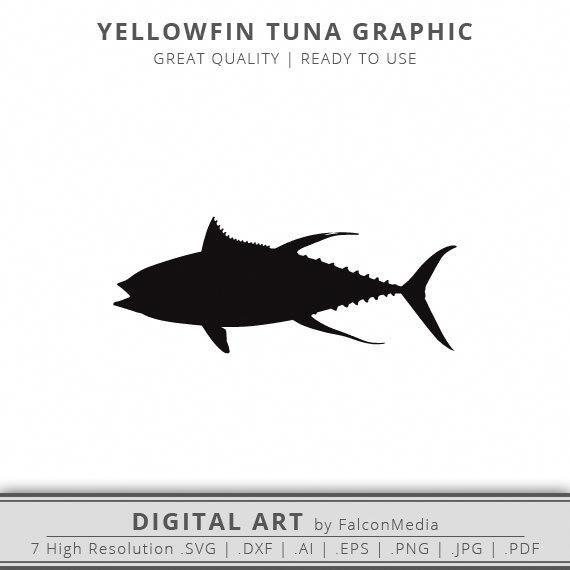 Yellowfin Tuna Svg Silhouette Saltwater Fish Offshore Fishing