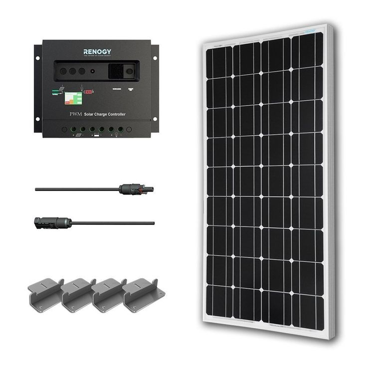 100-Watt Solar Panel with Charge Controller & Z Mounting Brackets