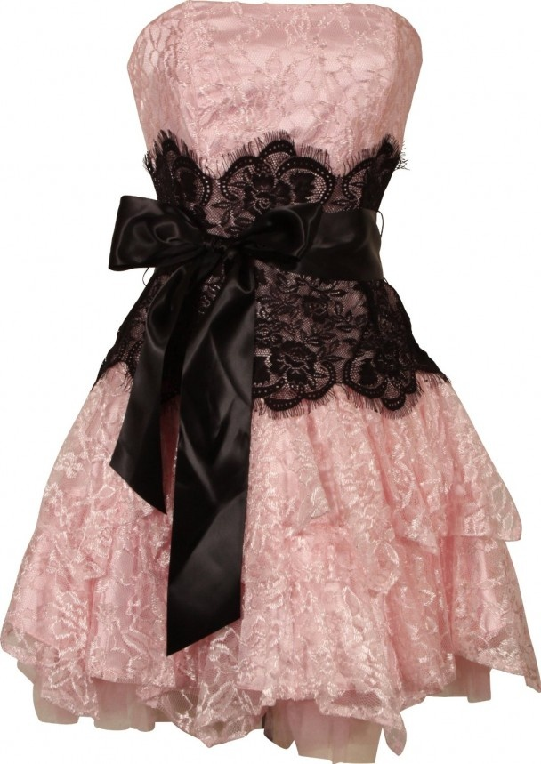 Strapless Bustier Contrast Lace and Crinoline Ruffle Prom Mini Dress Junior Plus Size, Pink Black Color