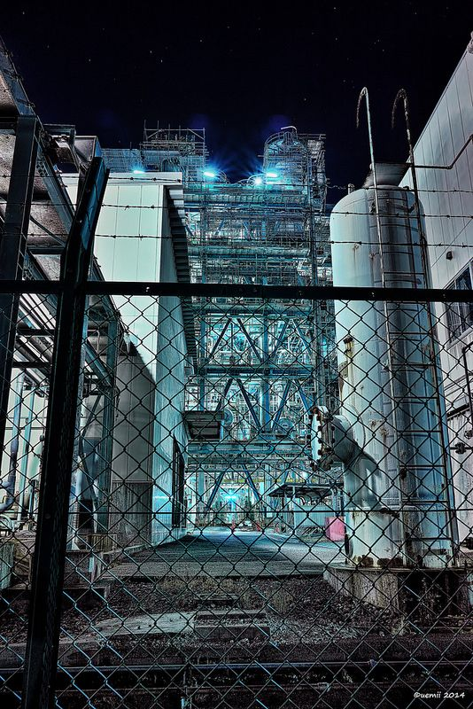 "HDR Photo: Factory night view ""Fence"""