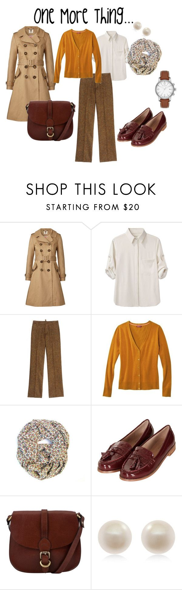 """Mrs. Columbo"" by mamaskip ❤ liked on Polyvore featuring Orla Kiely, rag & bone, Dsquared2, Topshop, John Lewis, Links of London, Burberry, women's clothing, women and female"
