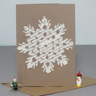 Snowflake Christmas card - papercut - cream & vintage brown