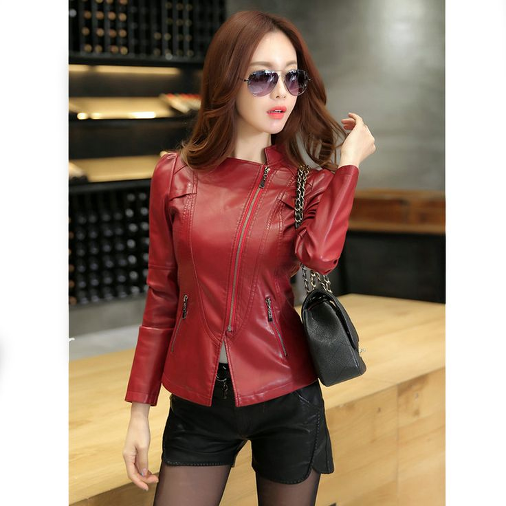 2016 Spring New Women Leather Jacket Slim fit Lady Coat Motocycle jacket Casual Female clothing outerwear Plus Size  KFL970