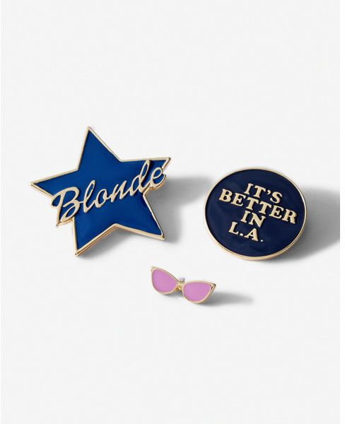 Express set of three blonde star and sunglasses pins - $9.95