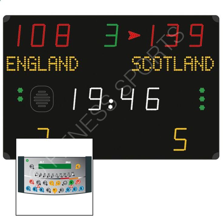 Scoring Basketball Academy Wall mounted programmable electronic display scoreboard with team names (up to 9 characters per team). This scoreboard is suitable for scoring basketball, handball, volleyball, tennis, table tennis, badminton, five-a-side football and hockey plus a free mode to customise your own sport programme. Complete with radio liaison control console. Reverts to standard clock time when not in use. Facia manufactured from shatterproof polycarbonate, wall mounted. High v...