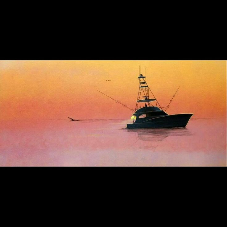 Sick painting of a Spencer sport yacht by RJ Boyle