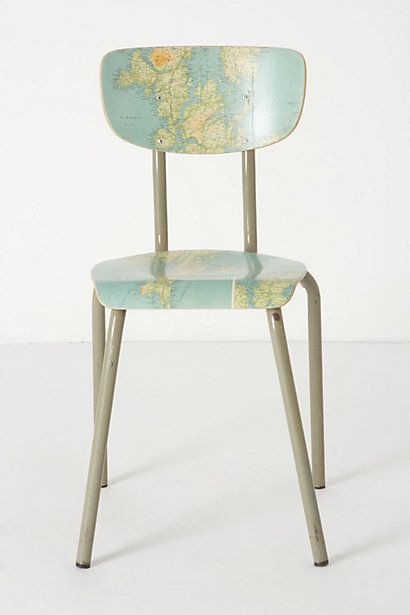Geography Lesson Chair - Anthropologie.comGeography Lessons, Desks Chairs, Diy Furniture, Lessons Chairs, Diy Anthropology Chairs, Maps Chairs, World Maps, Chairs Anthropologiecom, Diy Projects