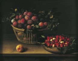 """""""Basket of Plums and Basket of Strawberries"""" (1632) Louise Moillon. © Photo STC - Mairie de Toulouse. Musée des Augustins. Like many of her fellow female artists, Louise Moillon had to restrict herself to still life, a genre which she mastered admirably. The painters in this genre, often Flemish, could escape the rules of the guild of Parisian painters if they sold their production within the walls of the Abbey of Saint Germain-des-Près."""