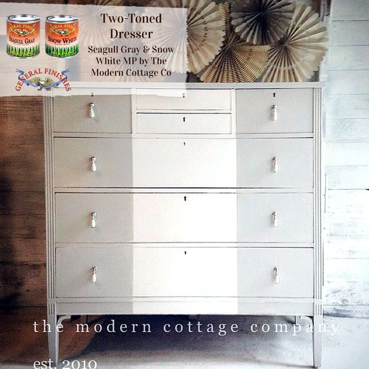 Stunning striped dresser by The Modern Cottage Company painted with GF Seagull Gray and Snow White Milk Paint.  Gorgeous!
