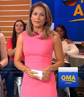 WornOnTV: Ginger's pink sleeveless dress on Good Morning America | Ginger Zee | Clothes and Wardrobe from TV