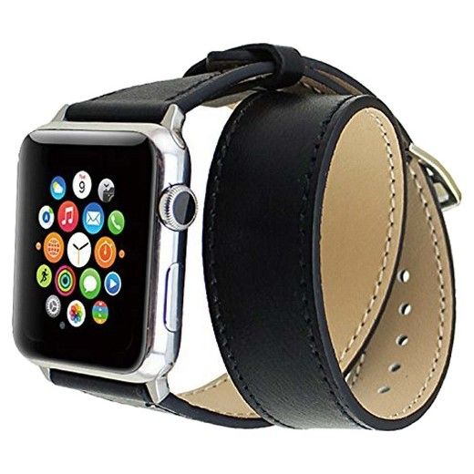 Genuine Leather Double Wrap Replacement Watch Band for Apple Watch