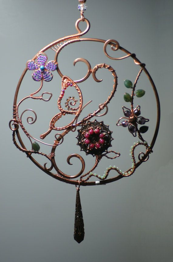 Wire Wrap Suncatcher with With Butterfly and by aetherealminx