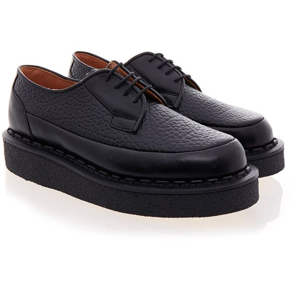 Purified X George Cox Creeper 1 Elefante Black Lace-up Shoe ($120) ❤ liked on Polyvore featuring shoes, black, black creeper shoes, black laced shoes, black lace up shoes, laced up shoes and laced shoes