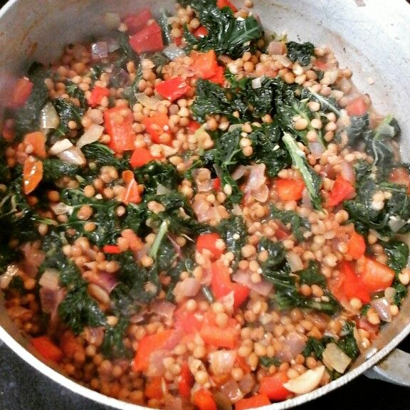 Lentils,  kale and red pepper.