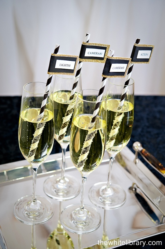 Sparkling cider instead of champagne for teens...love the straws