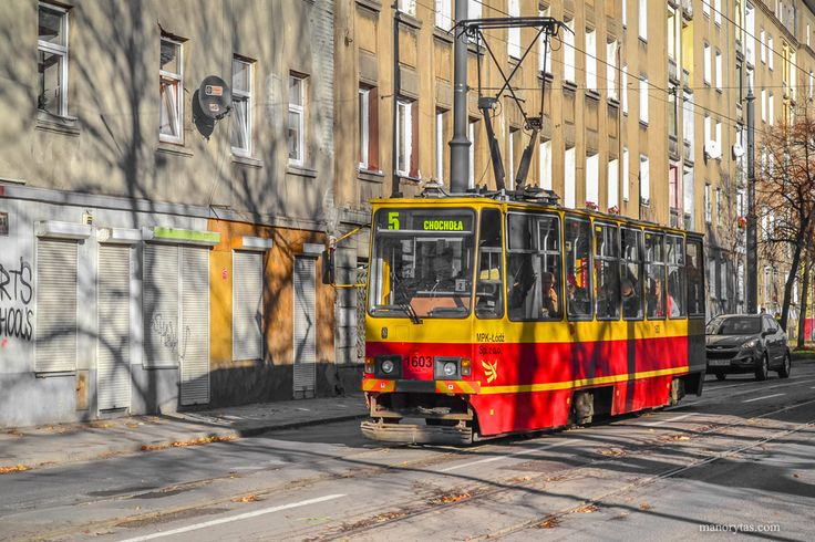 Konstal 805Na tram in Lodz, Poland.