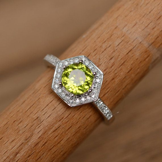 Natural peridot ring gemstone ring wedding ring promise ring for her annivers