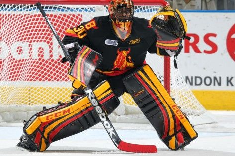 Malcolm Subban sporting Belleville Bulls CCM gear and jersey.
