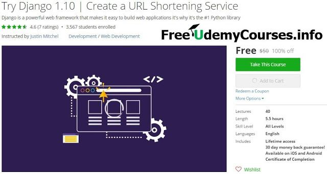 [#Udemy 100% Off] Try #Django 1.10 | Create a URL Shortening Service   About This Course  Published 10/2016English  Course Description  Try Django 1.10is an introduction to Django version 1.10 by creating a simple yet robust URL Shortening Service. This series covers a variety of Django basics as well as Django 1.10 specific material.  Generally the topics will include:  - How we made the Kirr url shortening service - Django Project Setup - Class Based Views (& some Function Based Views)…