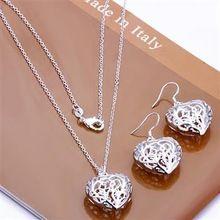 Ювелирные изделия комплект, В форме сердца 2 частей комплект, 925 чистое серебро ожерелье и браслет и серьги T007(China (Mainland))