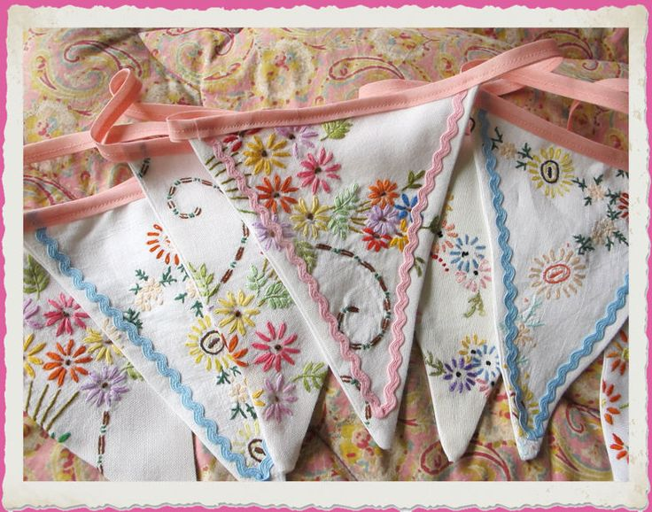 Vintage embroidery bunting ~ Perfect for your shabby chic cottage