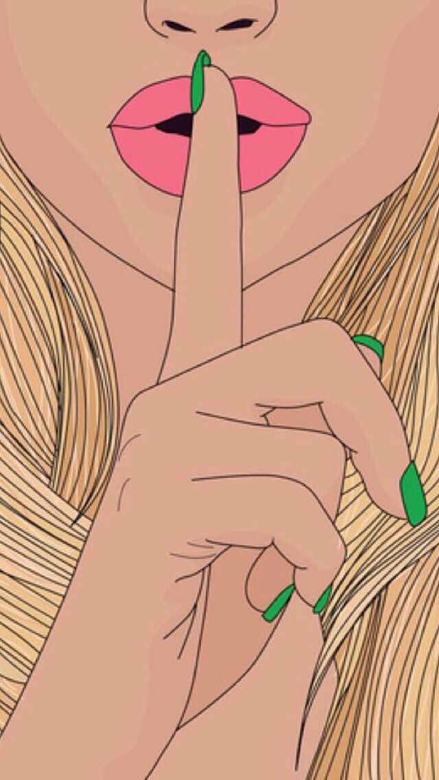 Shhhh girl with green nails Pop Art