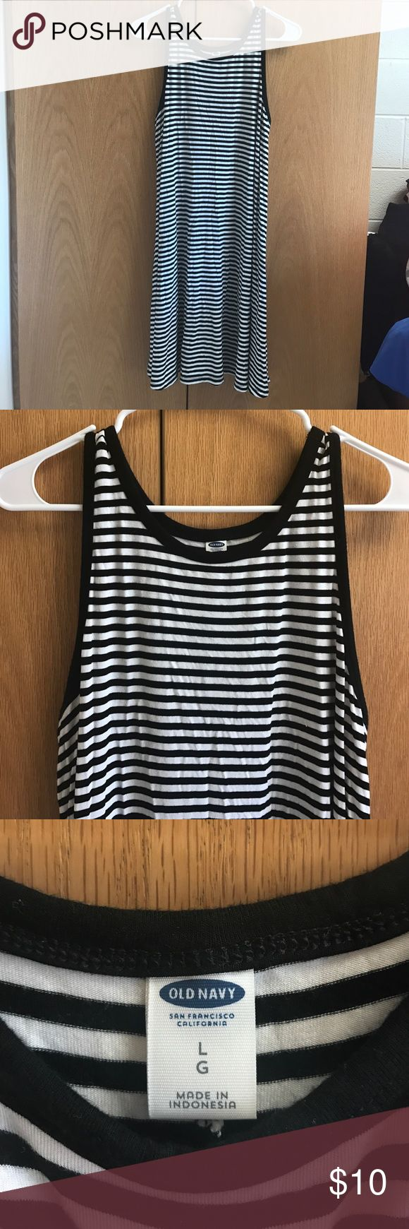 OLD NAVY STRIPED DRESS Old navy striped Tshirt dress. Flowy and perfect for spring and summer. Only worn once. BUNDLE AND SAVE!!! Old Navy Dresses