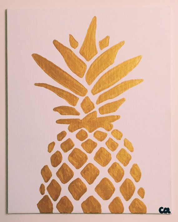 Gold Metallic Pineapple Painting READY TO SHIP 8x10 Acrylic On Canvas Simple Art Home