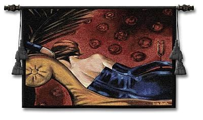 A woman in evening wear: Wall Art, Tapestries Champagne, Wall Hangings, Lounges, Fine Art, Art Tapestries