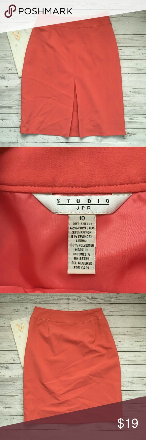 studio jpr womens 10 coral pencil skirt career mod gently used with no flaws great for work beautiful and great for summer  waist = 14 inches length = 23 inches Studio by JPR Skirts Pencil