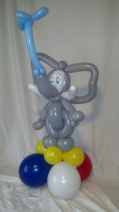 Elephant inspired by Bonnie the Balloon Lady and others.  Centerpiece for a Republican Party