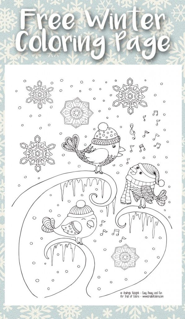 Singing Birds Winter Coloring Page For Adults Coloring Pages Winter Bird Coloring Pages Coloring Pages