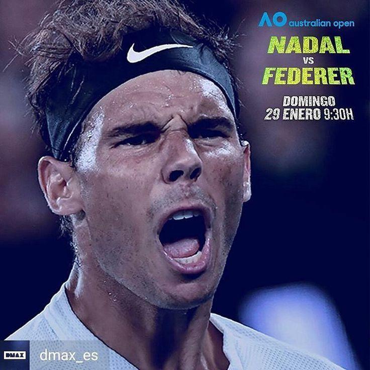 No lo olvidéis! Mañana domingo a las 9:30H en DMAX (@dmax_es) podeis ver en directo la final del Open de Australia (@ausopen) entre Nadal y Federer. Vamos Rafa!  #tenis #tennis #rafanadal #nadal #atp #australianopen #ausopen
