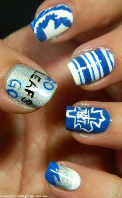 Toronto Maple Leaf Nails!  Pleeeease D?  You know who will LOVE that!