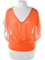 Plus Size Beautiful Lace Orange Blouse