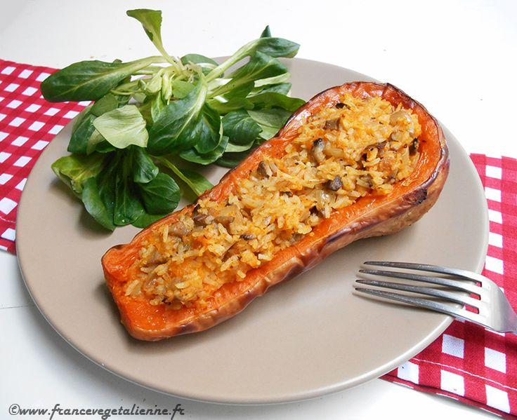 Courge butternut farcie (recette végane) : j'ai rajouté des châtaignes #vegan vegetalien