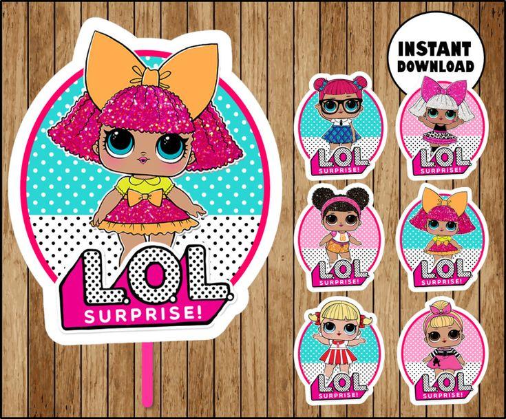 LOL Überraschung Dolls Cupcakes Topper, druckbare LOL Dolls Party Topper, LOL Surp …   – deco piniatas