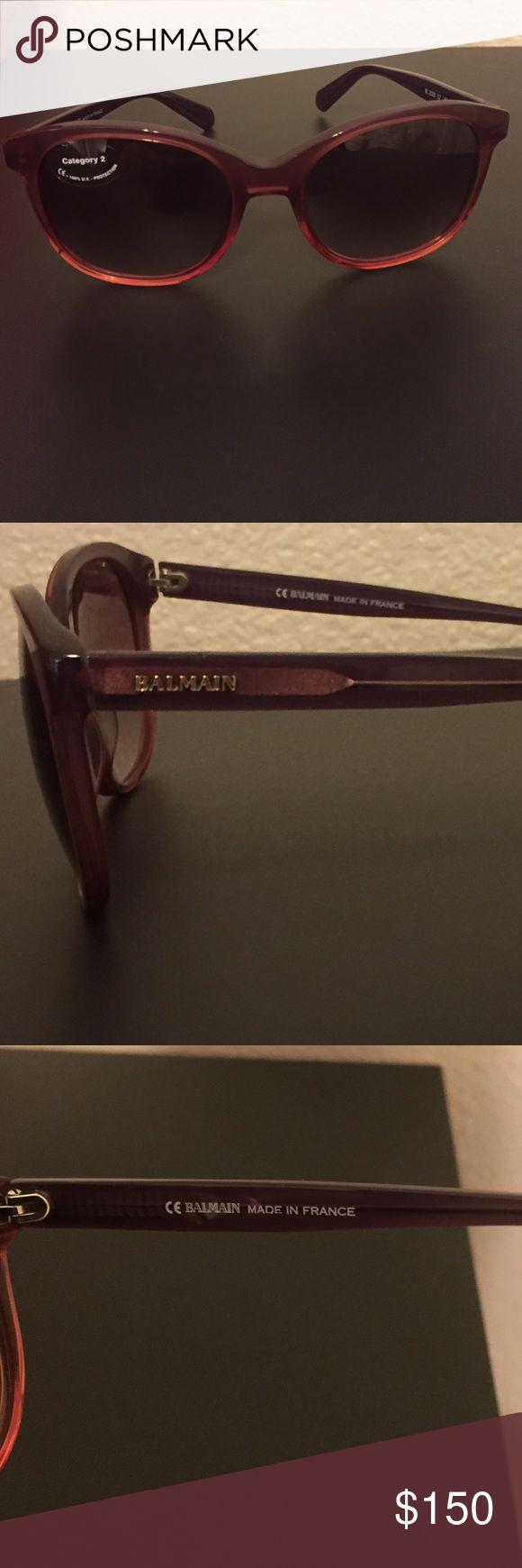 BRAND NEW! BALMAIN plum rectangle sunglasses! 100% AUTHENTIC! BALMAIN plum rectangle women's style sunglasses w/ brown lenses. Logo on both sides. Made in France! Balmain Accessories Sunglasses