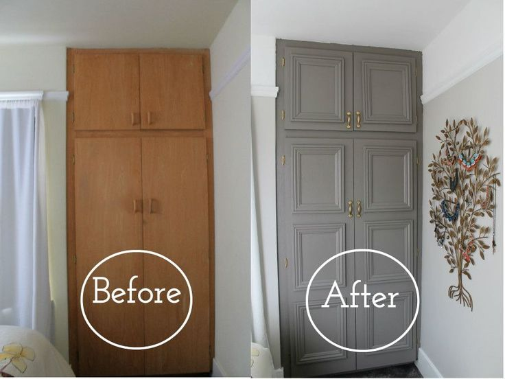 Closet make-over. Also check out: http://howfantasticblog.com/2014/06/02/closet-makeover-cutting-attaching-crown-moulding/