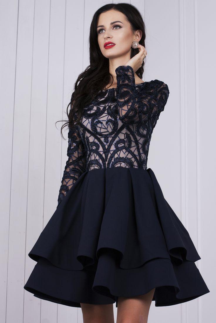 Gia granatowa sukienka z gipiurą Gia dark blue dress with guipure  #dress #darkbluedress #eveningdress
