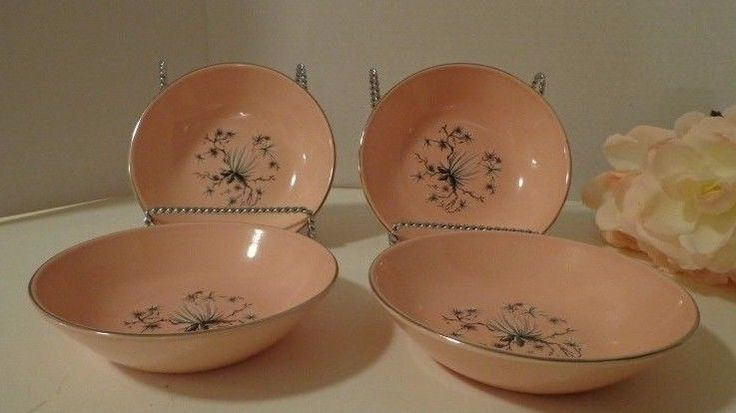 4 Fruit Bowls TST Dwarf Pine Taylor Smith Taylor Retro Pink Pine Trees Vtg Box F #TST