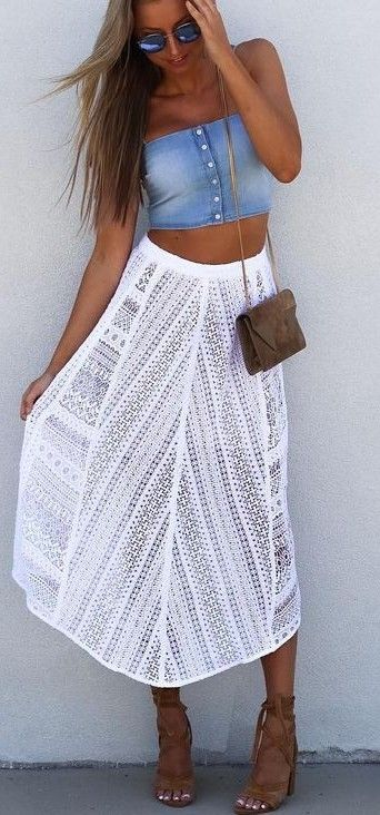 White eyelet midi skirt + crop top.