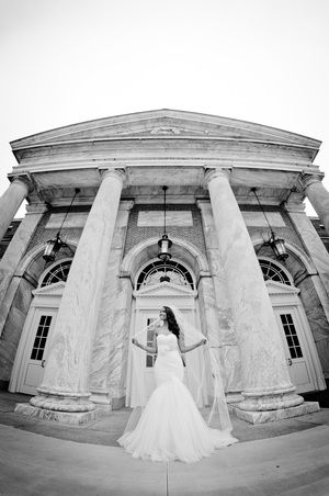 Beautiful black white wedding photo taken outside henry ford museum
