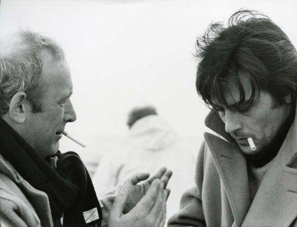 """Alain Delon e Valerio Zurlini sul set de""""prima notte di quiete """"1972"""