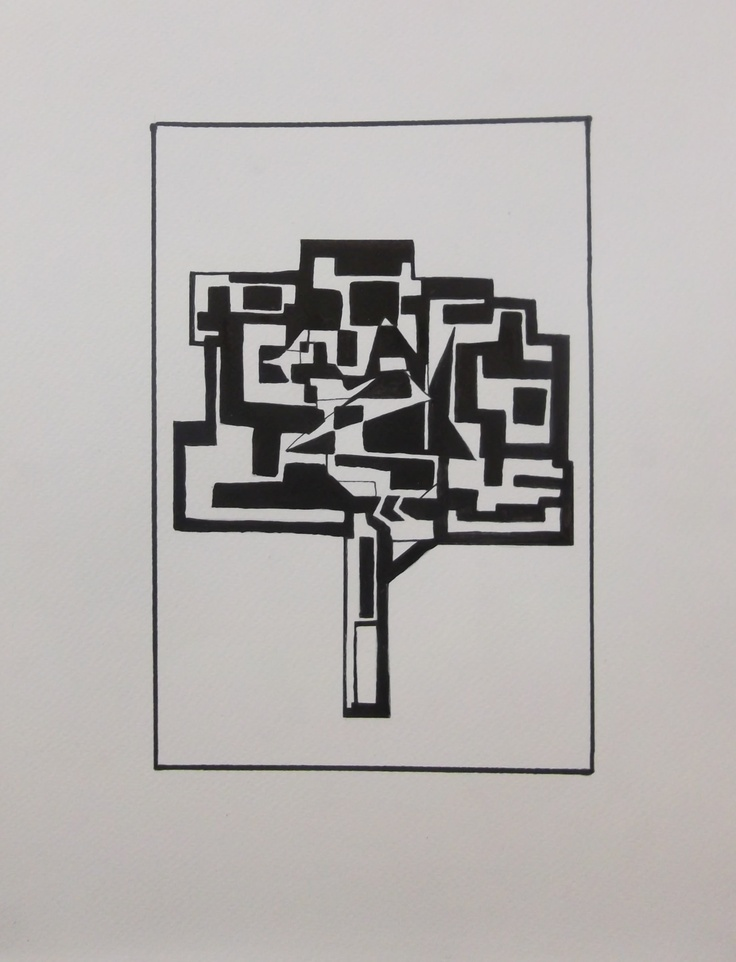 This illustration was a job for jewelry inspired on spring. I made a black and white tree and a bird with Cubist style.