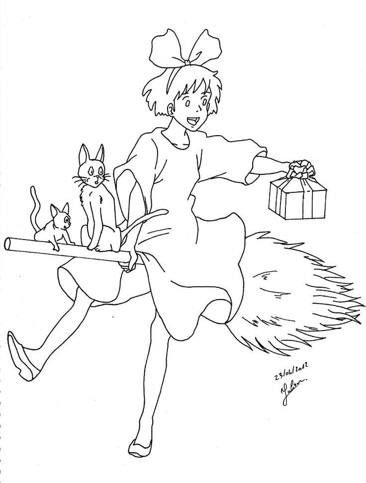 Kiki la petite sorci re sur son balai faire part for Kiki s delivery service coloring pages